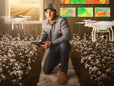 A man flying drones at a cotton field