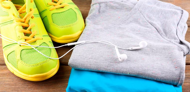 yellow tennis shoes and cotton exercise t-shirts