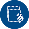 line icon of a flame over fabrics
