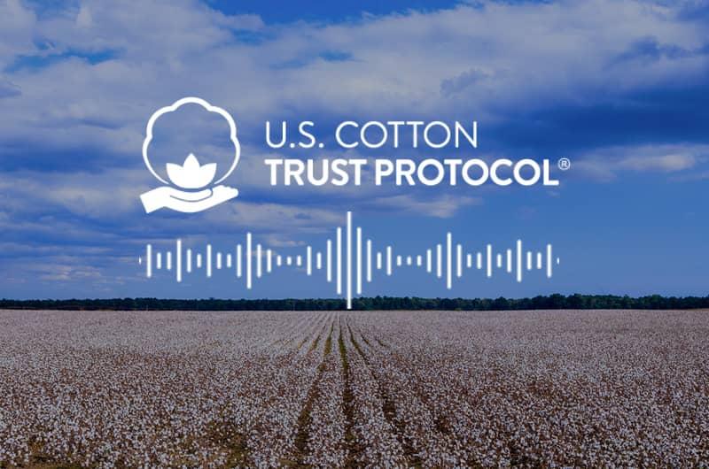 white logo of USCTP plus white sound vibrations in a cotton field